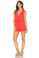 Bobi Rayon Gauze Ruffle V Neck Romper Orange