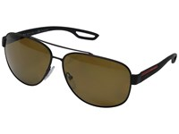 Prada Linea Rossa 0Ps 58Qs Black Rubber Polarized Brown Fashion Sunglasses