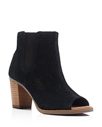 Toms Majorca Perforated Open Toe Booties Black