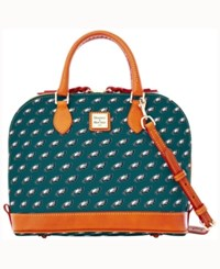 Dooney And Bourke Philadelphia Eagles Zip Zip Satchel Green