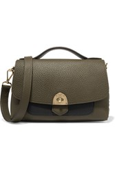 Mallet And Co Basil Two Tone Textured Leather Shoulder Bag Army Green