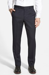 Men's Nordstrom Flat Front Wool Trousers Navy