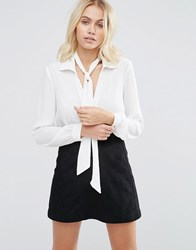 Goldie Wild World Chiffon Blouse With Detachable Neck Tie Ivory White