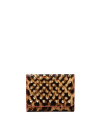 Christian Louboutin Macaron Mini Patent Spikes Wallet Leopard Brown Gold