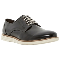 Dune Bayside White Wedge Sole Polido Leather Lace Up Shoes Black
