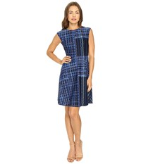 Donna Morgan Cap Sleeve Fit Flare Marine Navy Women's Dress
