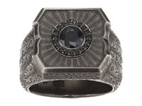 Stephen Webster Large Cigar Leaf Ring Sterling Silver Black Sapphire