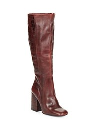 Free People High Ground Knee High Croco Embossed Leather Boots Red