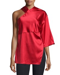 Cnc Costume National Asymmetric Woven Top Red Women's
