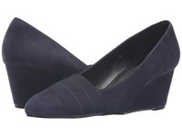 Vaneli Danil Navy Suede Women's Wedge Shoes Blue