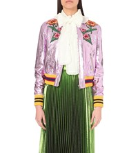 Gucci Embroidered Applique Metallic Leather Bomber Jacket Rose Multi