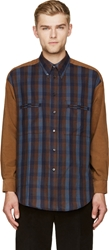 Umit Benan Brown Corduroy And Flannel Tobacco Shirt