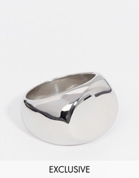 Reclaimed Vintage Oval Signet Ring Silver