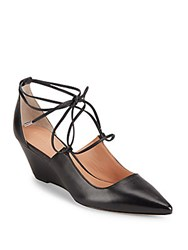 Sigerson Morrison Leather Lace Up Wedge Pumps Black
