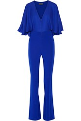 Haney Carrie Cape Effect Silk Chiffon And Stretch Crepe Jumpsuit Cobalt Blue
