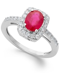 Macy's Ruby And White Sapphire Oval Ring In Sterling Silver 1 1 2 Ct. T.W.