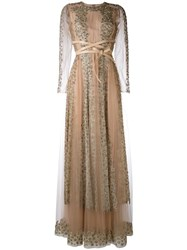 Valentino Crystal And Lace Gown Nude Neutrals