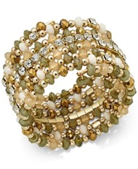 Inc International Concepts Gold Tone Multi Beaded Coil Bracelet Only At Macy's