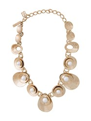 Oscar De La Renta Coin Style Necklace Metallic