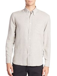 Billy Reid Patterned Long Sleeve Shirt Cream