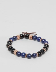 Icon Brand Beaded Bracelet In Blue Exclusive To Asos Blue