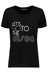 Rebecca Minkoff Let's Go To The Disco Printed Cotton Jersey T Shirt Black