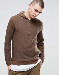Asos Hoodie In Reverse Loopback With Half Zip Saddle Brown Black