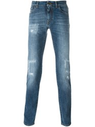 Dolce And Gabbana Ripped Detail Tapered Jeans Blue