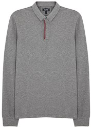 Armani Jeans Grey Stretch Pique Cotton Polo Shirt