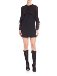 Giambattista Valli Draped Collar Long Sleeve Dress Black