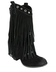 Naughty Monkey Kickin In Frindged Suede Mid Calf Boots Black