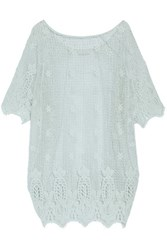 Miguelina Jessica Crocheted Cotton Coverup Sky Blue