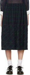 Tricot Comme Des Garcons Navy And Green Tartan Check Skirt