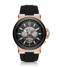 Michael Kors Dylan Automatic Rose Gold Tone And Silicone Watch
