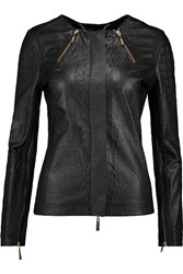 Just Cavalli Peforated Croc Effect Leather Biker Jacket Black