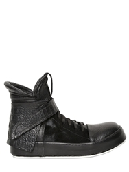 Artselab Ponyskin And Leather High Top Sneakers Black