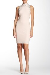 Marina Sleeveless And Beaded Jersey Sheath Dress Pink