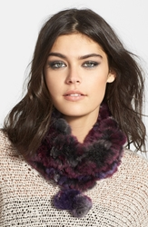 Dena Genuine Rabbit Fur Collar Purple
