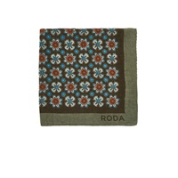 Roda Floral Twill Pocket Square Lt.Brown