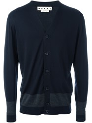Marni Two Tone Cardigan Blue