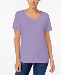 Karen Scott Henley T Shirt Only At Macy's Lilac Sachet