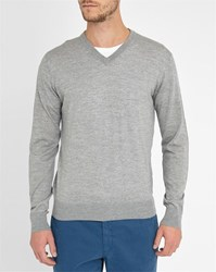 Hackett Navy V Neck Fine Gauge Merino Sweater With Tone On Tone Elbow Patches