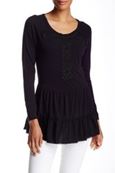 Johnny Was Embellished Long Sleeve Tee Black