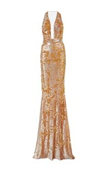 Kaufman Franco Kaufmanfranco Plunging V Neck Shredded Sequin Column Gown Metallic