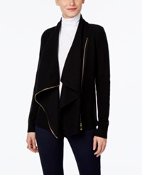 Inc International Concepts Draped Faux Leather Trim Cardigan Only At Macy's Deep Black