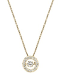Twinkling Diamond Star Diamond Circle Pendant Necklace In 10K Yellow Or White Gold 1 4 Ct. T.W. Yellow Gold