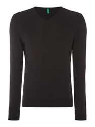 United Colors Of Benetton Long Sleeve V Neck Cotton Jumper Black