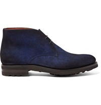 Santoni Burnished Suede Chukka Boots Navy
