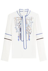 Peter Pilotto Cady Embroidered Tie Neck Top Multicolor