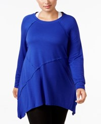 Calvin Klein Performance Plus Size Long Sleeve Asymmetrical Hem Tunic Purple